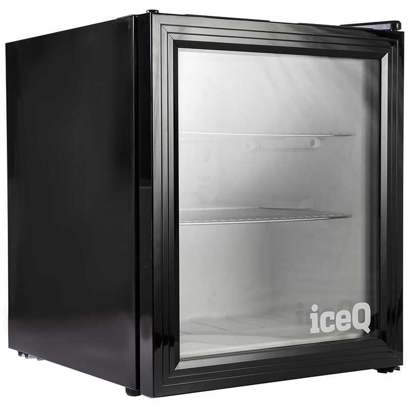 Click to view product details and reviews for Iceq 49 Litre Drinks Glass Door Fridge Black.