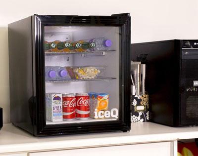iceQ 49 Litre Drinks Glass Door Fridge Black