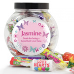 Personalised Pink Butterfly Jar of Sweets