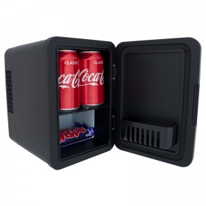 iceQ 4 Litre Mini Fridge - Stainless Steel - Black