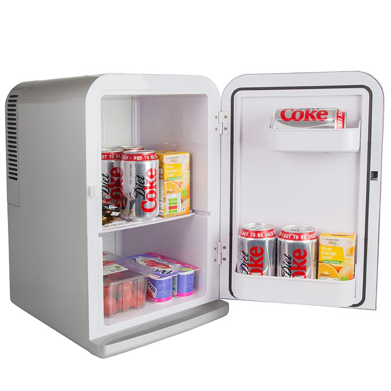small bedroom refrigerator iceq 15 litre deluxe portable mini fridge silver 13263