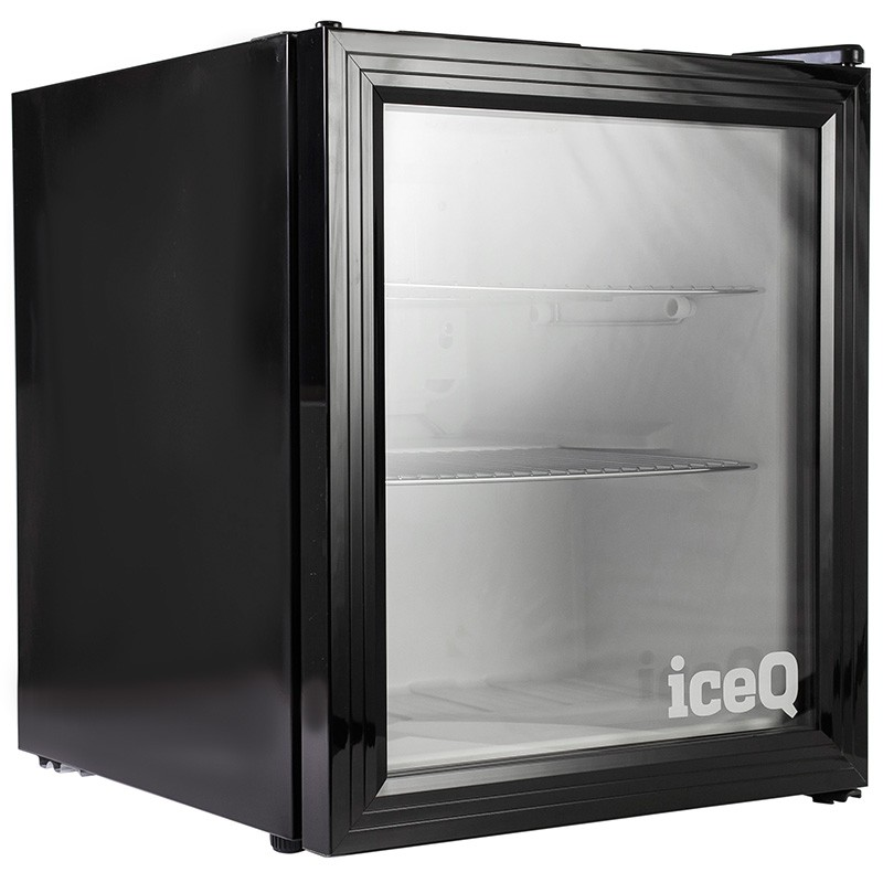 Iceq 49 Litre Drinks Glass Door Fridge Black